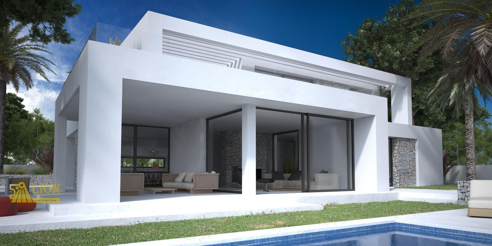 L0285 nieuwbouw moderne design villa afgewerkt met fraaie natuurstenen elementen lion real - Foto gevel moderne villa ...